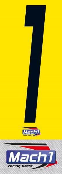Nummernaufkleber gelb